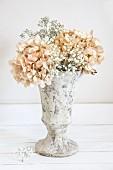 Dried hydrangeas and gypsophila in stone vase