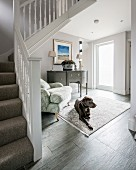 Dog lying on rug in hallway at foot of staircase