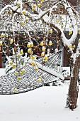 Verschneite Hängematte an einem Baum mit gelben Äpfeln