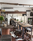 Cowhide rugs in cafe with industrial ambiance