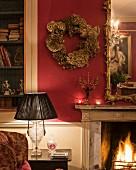 Wreath of dried hydrangeas on wall of living room