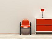 Retro interior with red furnishings, 3D rendering