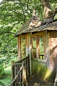 Rustic tree house with wooden walkway and shingle roof