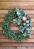 Wreath of olive branches, eucalyptus and protea