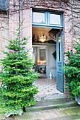 Zwei Tannenbäume säumen die offene Haustür