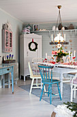 Dining table set in romantic country-house style