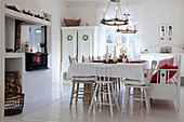 White Scandinavian-style dining room