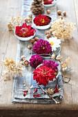 Tischdekoration zu Halloween mit Dahlien, Haselnüssen und getrockneten Hortensienblüten auf rustikalem Tisch mit blauem Tuch