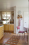 Dining area in Scandinavian country-house kitchen