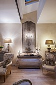 Decorative panel on wall, antique furniture and symmetrical ornaments in elegant lounge