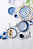 Dishes with different patterns in blue and white