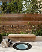 Dog in garden with round skylight set into floor