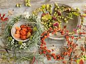 Still-life arrangement of three various autumn wreaths
