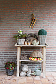 Potting table with wintry decorations against brick wall