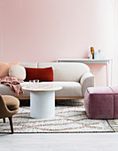 Color concept in different shades of pink in the living room