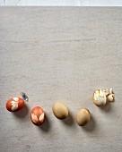 Natürlich gefärbte Ostereier mit Blattmotiv
