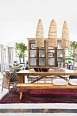 Elegant ethnic-style dining area in open-plan interior