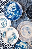 Plates with various blue and white motifs and patterns