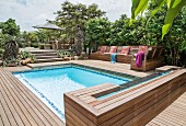 Pool, benches and elegant wooden deck