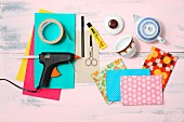 Craft materials for a making a sewing organiser from old crockery