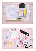 Craft materials and instructions for making a Easter bunnies on paper rosettes
