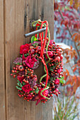 Red autumn wreath with roses (rose, rosehips), malus (ornamental apple)
