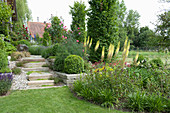 Hang garden with natural stone staircase and dry stone walls