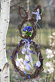 Hanging Easter bunny made of birch wreaths