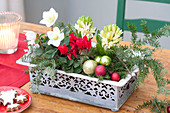 Small decorative box with pattern as a Christmas table decoration