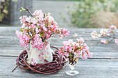 Small bouquets from Viburnum bodnantense 'Dawn'
