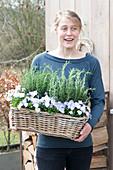 Woman bringing basket with Rosemary (Rosemary) and Viola