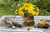 Meadow bouquet made of Taraxacum (dandelion) and Lamium Galeobdolon
