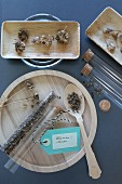 Dried marigold seeds in test tubes and in wooden dishes