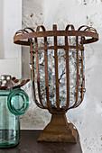 Old light bulbs in vintage metal basket