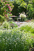 Meadow flowers and romantic seating area in summer garden