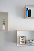 Shelving modules on white wall