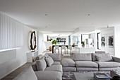 Large open-plan living room in modern architect-designed house