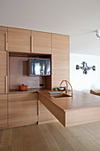 Cubic designer kitchen with floating counter