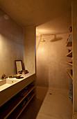 Waschtisch und Duschbereich im Designerbad
