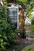Brick path leading to climber-covered house with garden door