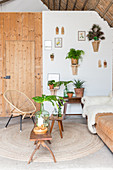 Many houseplants and furniture in a mixture of styles in living room in natural shades