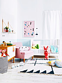 Modern children's room with baby bed and graphic patterns
