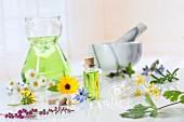 Verschiedene Heilblüten, Kräuter, Öl und Vitamintabletten