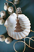 Old Christmas-tree bauble in scallop shell