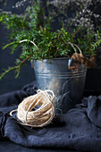 Natural cord on blue fabric
