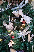 Lavish Christmas decorations on artificial Christmas tree