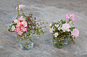 Posies of lemon-scented geraniums and hardy kiwis