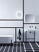 Black and white bathroom with graphic elements