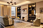 Glamorous living room in shades of Champagne