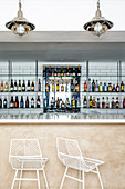 Bar with glass shelves and marble counter in 'SeaBreeze', Cape Town, South Africa